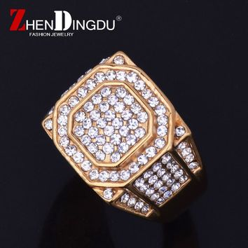Fashion Men's Stainless steel Hip hop Jewelry Iced Bling Bling Full Rhinestone Crystal Square Ring Men