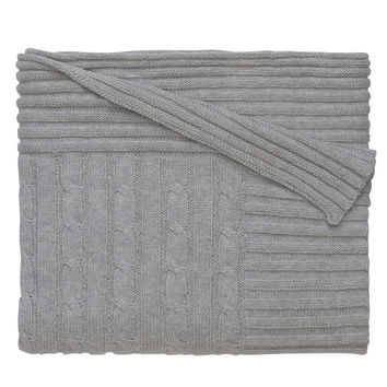 Classic Cotton Cable Knit Blanket (Grey)