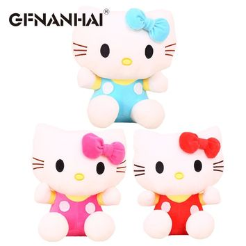 1pc 20cm cute classical hello Kitty plush toy stuffed soft kawaii animal cat dolls for baby kids finger birthday gift