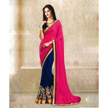 Georgette & Jacquard Thread & Lace Work Blue & Pink Half & Half Saree - 103