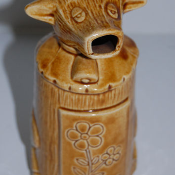 Vintage Brown Cow Creamer, 1960's Ceramic Creamer, Japan