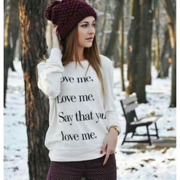 "White ""Say that you love me"" Letter Print Sweater"