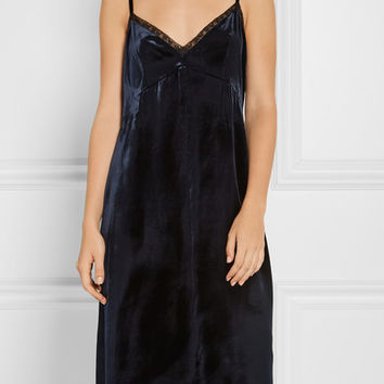 Prada - Lace-trimmed velvet dress