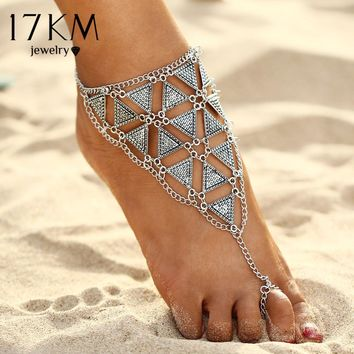 17KM Boho Style Triangle Anklet Bracelet 2017 New Punk Vintage Barefoot Sandal Chain Anklets Foot Jewelry For Woman Party Gift