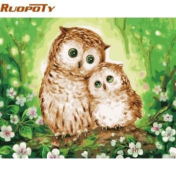RUOPOTY Frame Owl Lover DIY Painting By Numbers Animals Wall Art Canvas Picture Paint By Numbers For Home Decor 40x50cm Artwork