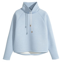 H&M - Chimney-collar Top - Light blue - Ladies
