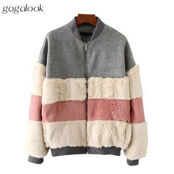 gagalook Teddy Bear Bomber Jacket Women Winter Warm Cozy Contrast Color Fur Patchwork Jacket Coat 2017 C0177