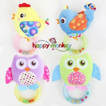 Baby Rattle - Plush Animals - Owl, Bird, Chicken