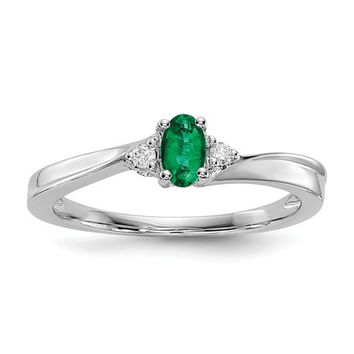 Sterling Silver Created Emerald & Diamond May Birthstone Ring