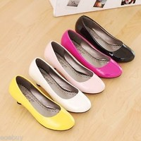 Women's Synthetic Leather Kitten Heel Shoes Fashion Round Toe Pumps Size UK D093