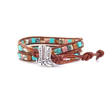 Equestrian Bracelet Cowgirl Boots Mixed Turquoise Beaded Wrap