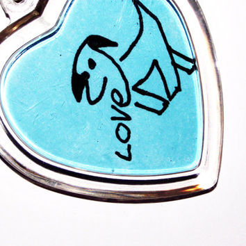 Dog lover gift keychain keyring blue drawing original