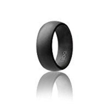 CREYRQ5 Silicone Wedding Ring For Men By ROQ Affordable Silicone Rubber Band, 7 Pack, 4 Pack & Singles - Camo, Metal Look Silver, Black, Grey, Light Grey