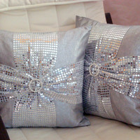 Bow 18x18 pillow cover – Silver sequin pillow – Glitter cushion