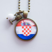 Flag of Croatia Necklace - Croatian Flag - World Flags - Patriotic Pendant - Custom Jewelry - Travel Necklace - Flag Jewelry Eastern Europe