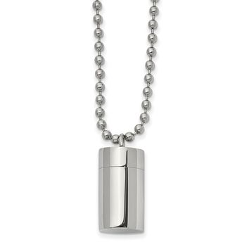 Stainless Steel Polished Capsule that Opens Necklace 22in