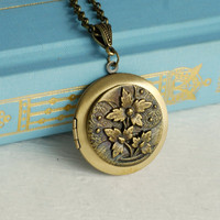 Gold Floral Locket Necklace, vintage style flowers brass photo pendant Birthday Mother's Day Graduation Christmas Gift