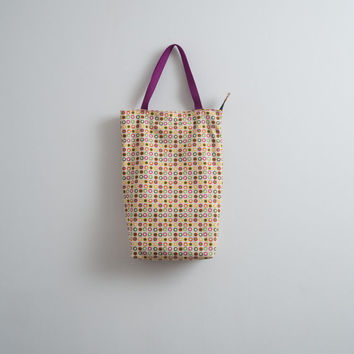 Bright Cotton Tote Bag Dotted Tote Street Fashion Every Day Bag Casual Bag Hipster Style Multi Color Bag Orange Purple Green Shoulder Bag