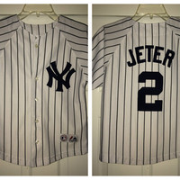 Sale!! Vintage Majestic New York Yankees Baseball Jersey MLB Shirt size kids' 8 Free US Shipping