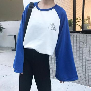 2018 Spring T-shirt Women's New Top Hit color pullover Korea Abstract print with long sleeves spell Harajuku Top