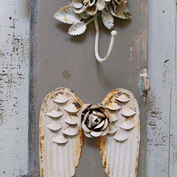 French inspired angel wings jewelry accessory wall rack gray white recycled home decor anita spero