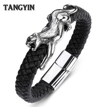 TANGYIN Fashion Men's Leather Punk Bracelet Leopard Animal Stainless Steel Personality Silver Bracelets Male Best Birthday Gift