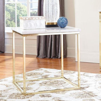 Coaster Fine Furniture End Table White / Brushed Brass 720417