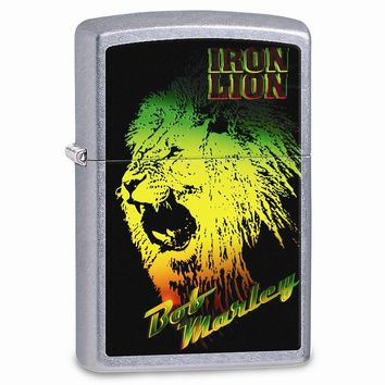 Zippo Bob Marley Iron Lion Street Chrome Lighter