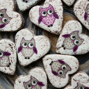 Owl wedding favors heart magnets cottage chic guest favors bridal shower cartoon birds for kids baby shower party lilac grey white