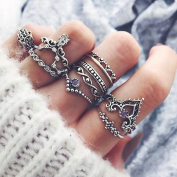 10 Pcs/set Gold Silver Bohemian Fatima's Hand Spiral Diamond Gem Finger Knuckle Rings Jewelry Gift