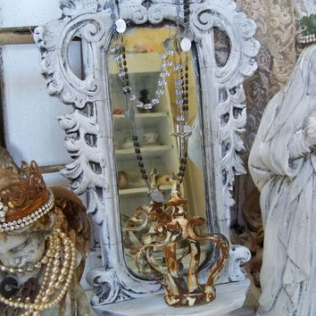 Antique aged ornate mirror with shelf French inspired wall decor with embellished jewelry crown Anita Spero