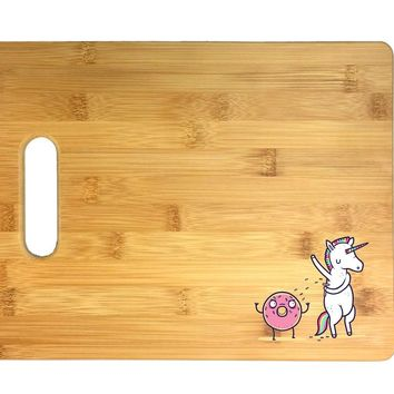 "Randy Otter""How Donuts Get Sprinkles"" Unicorn Shaving Armpits 3D COLOR Printed Bamboo Cutting Board - Wedding, Housewarming, Anniversary, Birthday, Mother's Day, Gift"