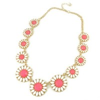 ZLYC Women Girls Fashion Acrylic Daisy Sunflowers Alloy Chain Summer Statement Necklace, Pink