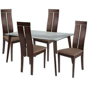 Ridgecrest 5 Piece Espresso Wood Dining Table Set with Glass Top and Clean Line Wood Dining Chairs - Padded Seats