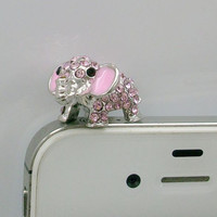 1Pcs of Crystal 3D Elephant Earphone Cap Anti by AppleCellphone