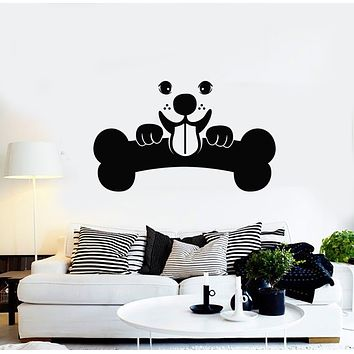 Vinyl Wall Decal Funny Puppy Bone Dog Animals Children Decor Stickers Mural (g531)