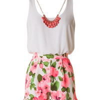 Neon Floral Romper with Necklace - White