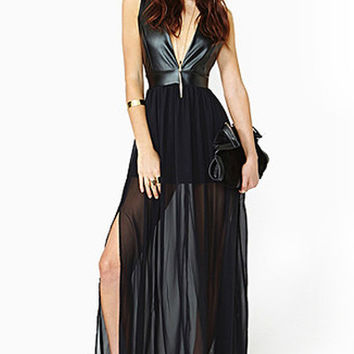 Black V Neck Leather Trimmed Maxi Dress