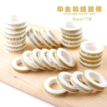 JIANWU 8mmX7m cute Creative print gold tape Notebook sticker Decorative tape washi tape School Supplies