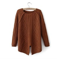 Magic Pieces Woman's Geometric Pattern Round Neck Sweater with Cut Out Detail 080844 Color Coffee