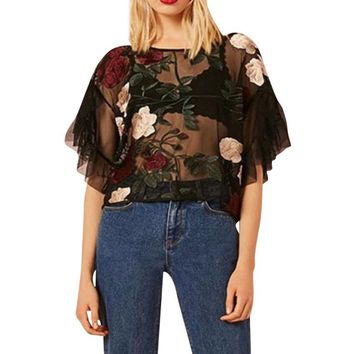 Fashon In Round Neck Flowers Embroidered Tulle Short Blouse Women's Lace Mesh Transparent Tops Shirt Blouse#Gh