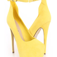 Yellow Platform Ankle Strap Heels Faux Suede