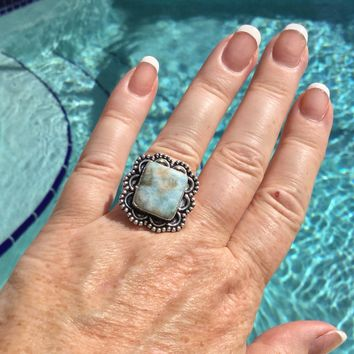 Vintage style Larimar sterling silver ring size 7