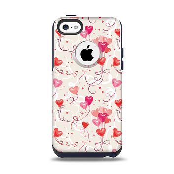 The Pink, Red and Tan Heart Balloon Pattern Apple iPhone 5c Otterbox Commuter Case Skin Set