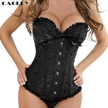 Classic Gothic Corset Overbust Floral Steampunk Lace Up Bustier Sexy Busk Slim Corselet Body Shaper Fancy Party Clothing