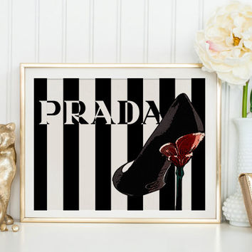 Prada Shoes Poster Prada Marfa Print Prada Marfa Art Prada Marfa Decor Gossip Girl Art Fashion Art Fashion Print Bedroom Wall art Prada Sign