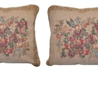 """DaDa Bedding Set of Two Wildflower Wonderland Throw Pillow Covers w/ Inserts - 2-PCS - 18"""""""