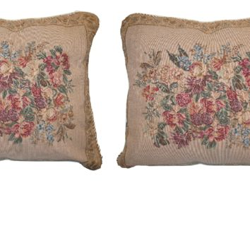 "Set of Two Wildflower Wonderland Floral Elegant Novelty Woven Square Throw Toss Accent Cushion Cover Pillow with Inserts - 2-Pieces - 18"" x 18"""