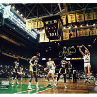 16x20 color photo of Larry Bird shooting a 3 pointer vs the Lakers.