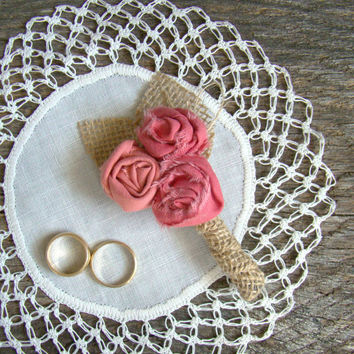 Mens Wedding Boutonnieres, Burlap Wedding Boutonnieres, Coral Wedding, Lapel Flower, Rustic Wedding, Coral Rosette
